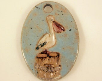 Large Glazed Pottery Pet Cremains Motif Pendant or Ornament - Custom Memorial Pet Cremation Keepsake -  PELICAN