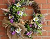 SALE Bunny Wreath, Easter Wreath, Spring Wreath, Spring Bunny Garden Frolic Wreath, Purple, Lavender