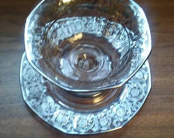 Mayonnaise Bowl and underplate with applied sterling overlay - 1950s