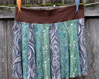 Women's Cotton Skirt - Tshirt Skirt - Earth Tones - Paisley Prints - Handmade Clothing - Large XLarge - Unique Clothing Online - Teen Girls
