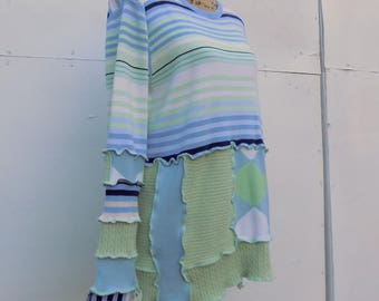 Women's Long Sleeved Cotton Sweater - Casual Summer Clothes - Altered Apparel - Repurposed - Re-cycled - Up-cycled - Celery Mint Cornflower