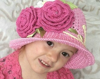 Crochet Cotton Cloche Sun Panama Hat Pink Baby Bonnet Hat with Roses, Daisy, Fern, Ribbon, And Pearls
