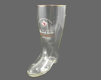 "German Glass Boot Beer Stein, 1965 Park Brau Boot, 1 Liter Drinking Cup, Park Brewery, 9"" Collectible Stein"