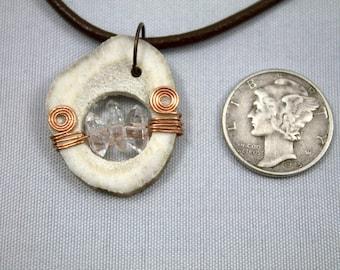 Triple Quartz Antler Slice Necklace