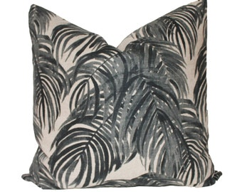 Decorative Designer Lacefield Villa Granite, Grey Palm Pillow Cover, 18x18, 20x20 or Lumbar Throw Pillow
