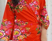 Red Floral Bridesmaid Robe Bride Maid of Honor Wedding Robes Cotton Flower Dress