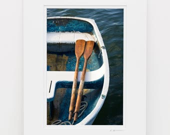 Nautical Wall Art, 8x12 Print Matted to 12x16, Rowboat Oars Photography, Teal White Blue Boat Art, Coastal Beach Decor, Vertical Artwork