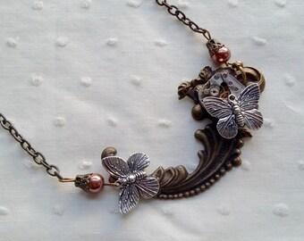 """Necklace pendant """"mechanical butterflies"""" steampunk"""
