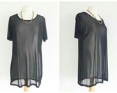 Vintage 90s Black Sheer Mesh Top  - See Through Oversized T Shirt - Grunge Festival Club Rave
