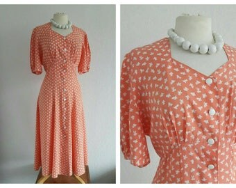 Vintage Peach Tea Dress - Summer Swing Dress - Button Through Shirt Dress - 40s 50s style