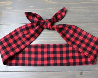 Buffalo Plaid, Red and Black Checked Knotted Hair Tie, Rosie Wrap, Pinup Hair Wrap, Bandana, 50s, Rockabilly, Headband, Handmade in Canada