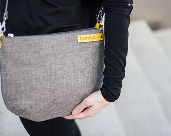 crossbody bag with leather adjustable strap, gray messenger bag, , zipper shoulder bag, gray yellow, canvas bag, travel bag, smart bag