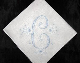 handkerchief initial c, a, b, h or L monogrammed vintage handkerchief bridal gift