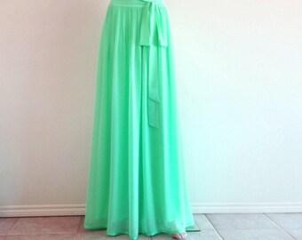 Dark Mint Bridesmaid Skirt. Dark Mint Floor Length Skirt. Long Evening Skirt. Chiffon Maxi Skirt.