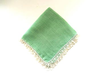 Vintage Green Linen Handkerchief  with Lace Border