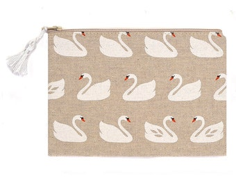 Linen Look Purse Pencil Case Make Up Bag Swans Natural