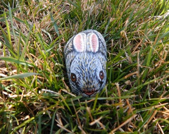 Bunny, Easter Bunny, Easter Rabbit, Hand Painted Bunny Rock Art