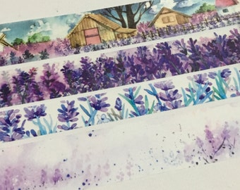 4 Rolls of Limited Edition Washi Tape - Lavender Flower Fields