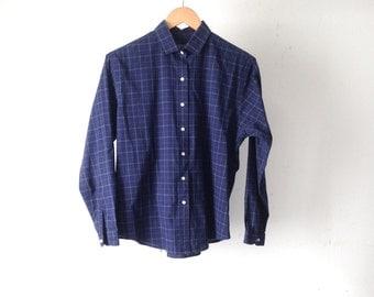vintage NAVY blue plaid women's button up down CLASSIC normcore shirt vintage 90s
