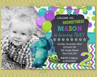 Monster Inc Invitation, Monster Inc Birthday Invitation, Monster University Invitation , DIY printable digital file