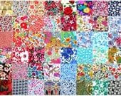 """Liberty of London 48 Mini 2.5"""" Charm Square Pack Patchwork Quilting Deep Dark Bright Bold Colours Cotton Tana Lawn Fabric"""
