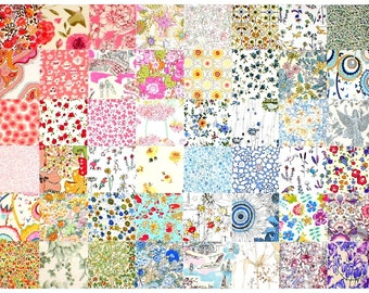 """SALE 15% off Liberty Fabric 48 Mini 2.5"""" Charm Pack Squares Patchwork Quilting Floral pastel pale low volume Liberty of London Tana Lawn"""