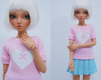 Slim MSD Minifee or SD BJD Shirt - White heart on pink