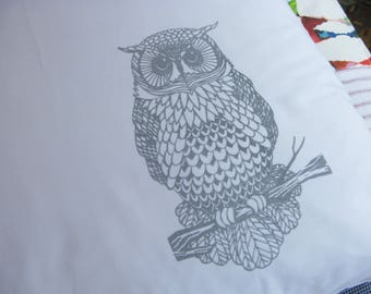 Pillow cases, Set of Two, hand printed, owls