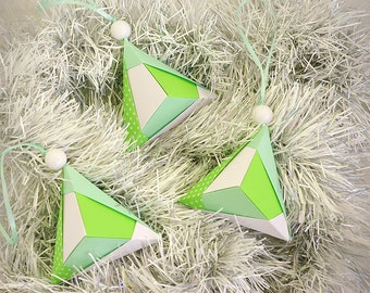 Set 3 Christmas ornaments - Ready to ship! - Paper ornaments, Origami Eco Christmas decorations - Modern Christmas - Mint, fresh, green