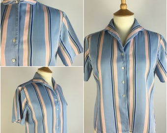 "Vintage 1950s Shirt - 50s Blue Striped Shirt - Button Up Blouse - Cotton Sateen Top - Pinup Rockabilly UK 12-14 Medium Bust 39"" -"