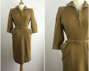 Vintage 1940s Dress - Green Wool 40s Tea Dress - 40s Formal Dress - Sheath Dress - Wiggle Dress - Medium - UK 12 / US 8 / EU 40 -