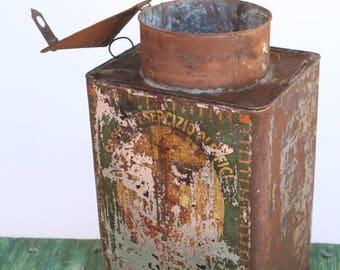 Vintage Italian olive oil tin with hinged lid