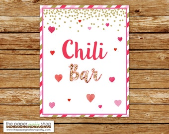 Chili Bar Sign | Hearts Valentines Party Sign | Little Sweetheart Party Chili Bar Sign | Our Little Sweetheart Birthday Party