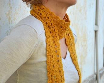 Woman's crochet lace scarf, mustard yellow infinity scarf, wool scarflette, long neckwarmer,