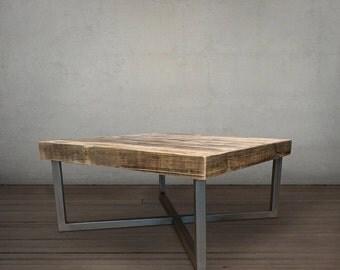 Reclaimed Wood Coffee Table, Wood and Steel Coffee Table