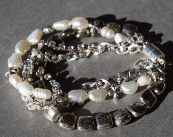 Pearl and Pyrite Rhinestone Bracelet, Holiday Jewelry