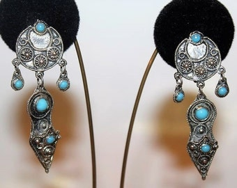 SALE! Vintage Exquisite Etruscan Sterling 900 Turquoise Charming KETE Clip Earrings E6