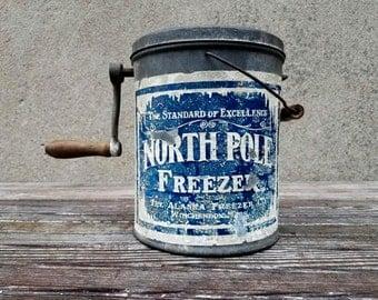 Antique North Pole Freezer Hand Crank 1 Quart Ice Cream Maker