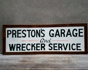 Vintage 5' Hand Painted Metal Garage and Wrecker Advertising Trade Sign