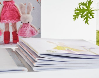 4 Bunny Notebooks, Sewn binding, lined notebooks, Paper goods, Crochet bunny pattern, Gift ideas