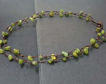 Double Strand  Peridot Necklace