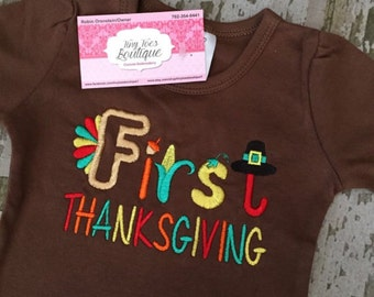 First Thanksgiving Embroidered Shirt