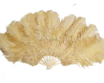 """24""""x 43"""" Wheat Marabou & Ostrich Feathers Hand Fan With Bamboo Staves Burlesque Dance"""