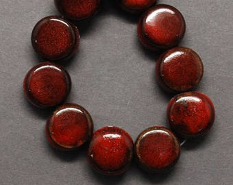 Porcelain Beads Glazed Porcelain Beads Red Beads Flat Round Beads Flat Beads Glazed Beads Coin Beads 9mm Beads Wholesale Beads 10 pcs