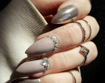 Grey Nude Silver Chrome with Swarovski Crystal Accents Glue on Gel Fake Nails
