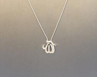 Medium Pave Allah Necklace-Silver