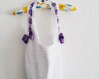 White crochet bag, natural cotton summer tote, handmade summer bag, crossbody bag, Market bag,  shopping bag, Ecofriendly bag, reusable bag,