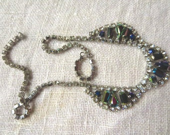 Multicolored and White Rhinestone Necklace with Broken Clasp
