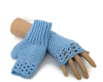 Blue Fingerless Gloves - Blue Gloves - Vegan Gloves - Crocheted Gloves - Gifts For Her - Useful Gift Ideas - Outdoor Gifts - Crochet Gloves