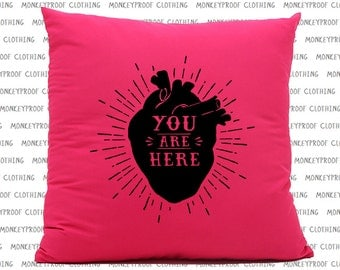You Are Here (In My Heart) Pink Cushion, Anatomical Heart, Valentines Day Present, Gift For Her, Gift For Him